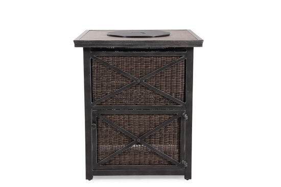 X Motif Weathered Aluminum Bar Fire Pit In Black