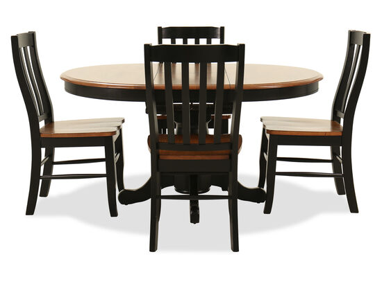 Five-Piece Traditional Round Extension 42'' to 57'' Dining Set in Satin Ebony