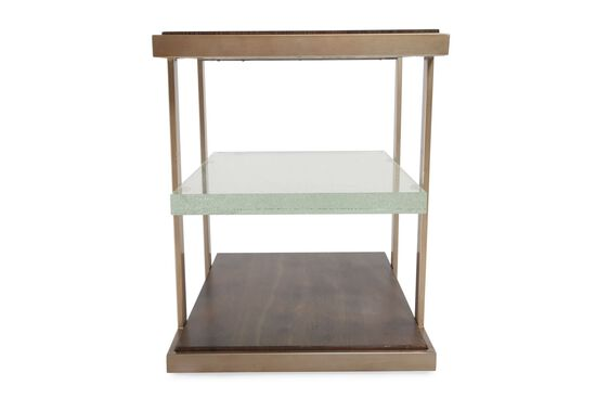 Square Contemporary End Table in Medium Brown