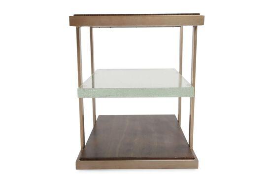 Square Contemporary End Tablein Medium Brown