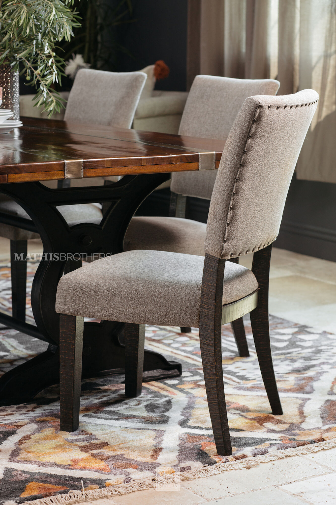 Five Piece Nailhead Trimmed Casual 84 Dining Set In