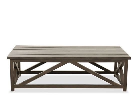 Slat Top Contemporary Patio Coffee Table in Brown