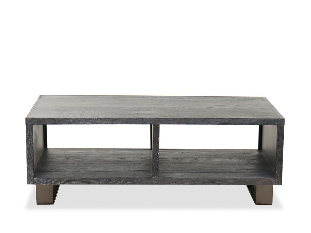 Transitional Rectangular Cocktail Table In Waxy Black Mathis Brothers Furniture