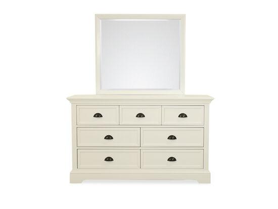 Two-Piece Contemporary Seven-Drawer Dresser & Mirror in White