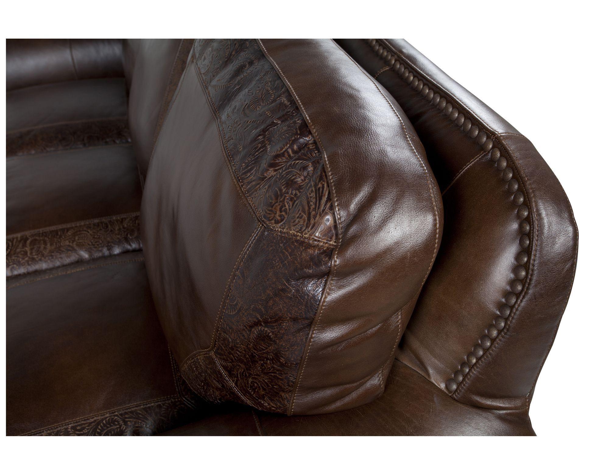 Paisley Printed Leather 94u0026quot; Sofa In Dark Burgundy