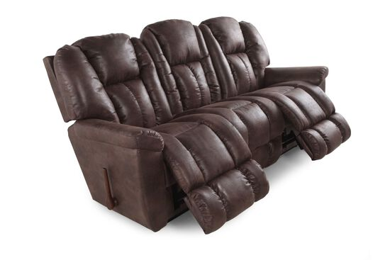 "Microfiber 88"" Reclining Sofa in Sepia"