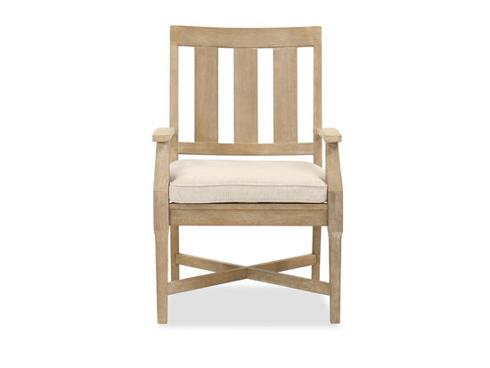 Cushioned Seat Contemporary Patio Arm Chair in Beige