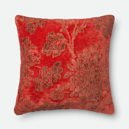 """Contemporary 22""""x22"""" Cover w/down pillow in Coral"""