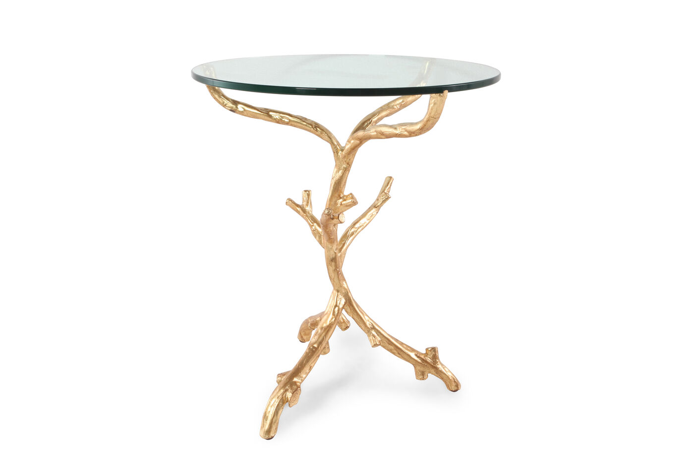 Round Tempered Glass Top End Table In Gold Leaf Mathis