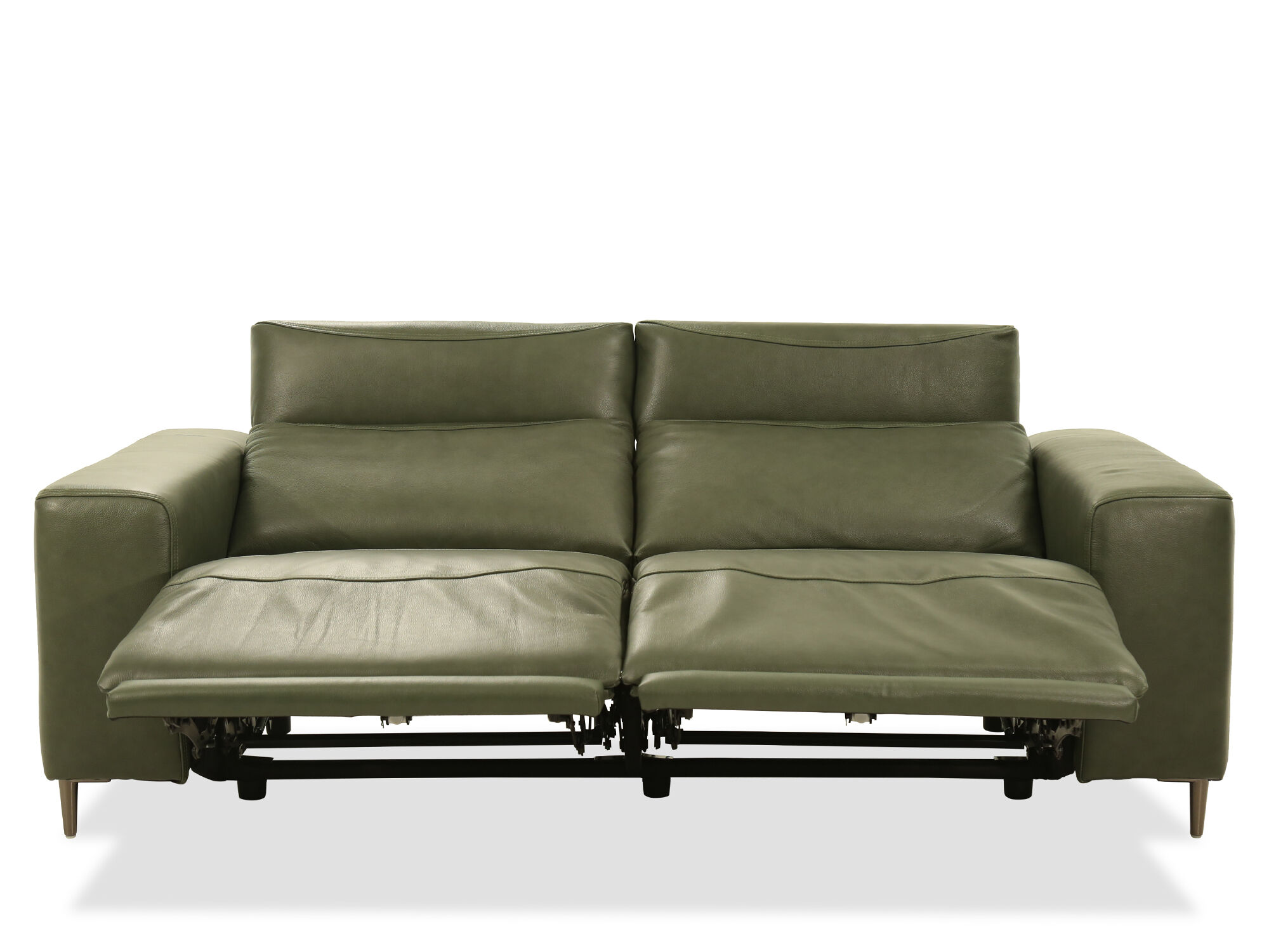 Power Reclining Leather Sofa In Green Mathis Brothers