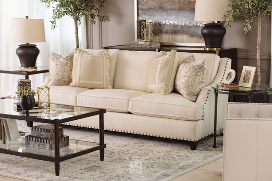 Nailhead Accented Contemporary Sofa In Beige Mathis