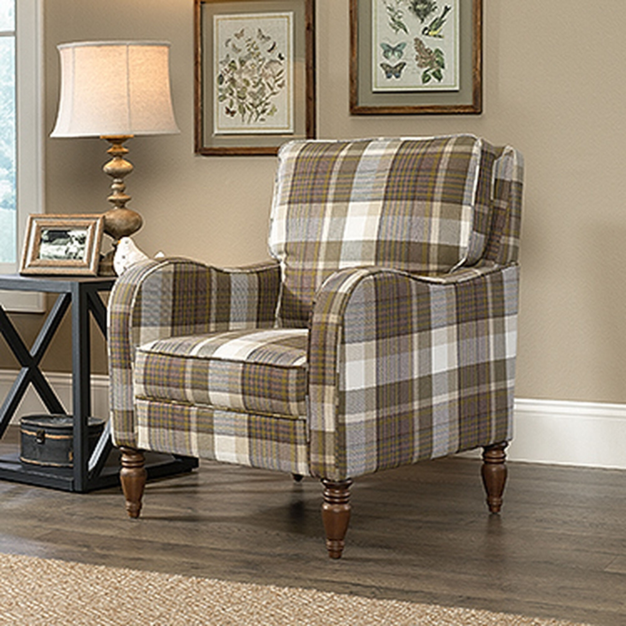 "Mathis Brothers Accent Reclining Chair: Contemporary Plaid 29"" Accent Chair"