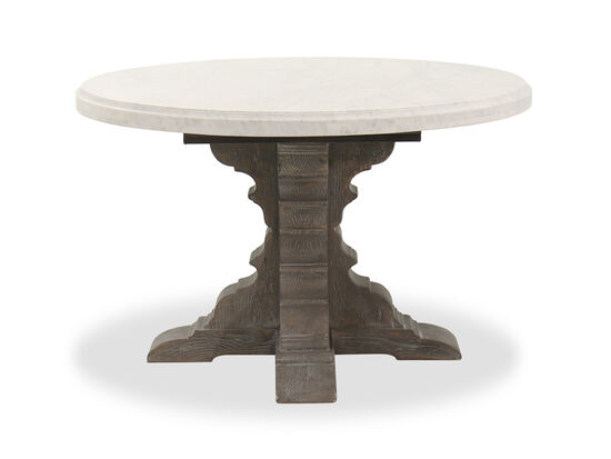 """Traditional 48"""" Round Marble Top Dining Table in Shale"""