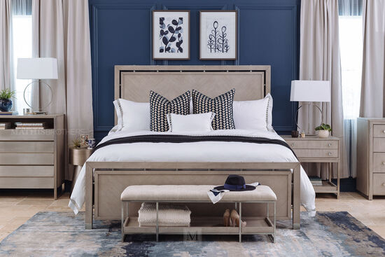 65 Quot Contemporary Panel Bed In Grey Oak Mathis Brothers