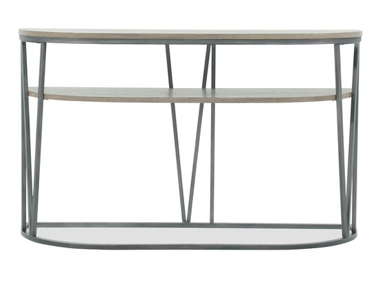 Demilune-Shaped Modern Sofa Table in Gray