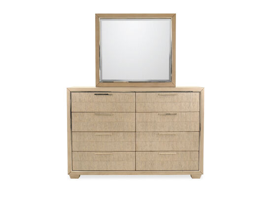 Two-Piece Transitional Eight-Drawer Dresser & Mirror in Brown
