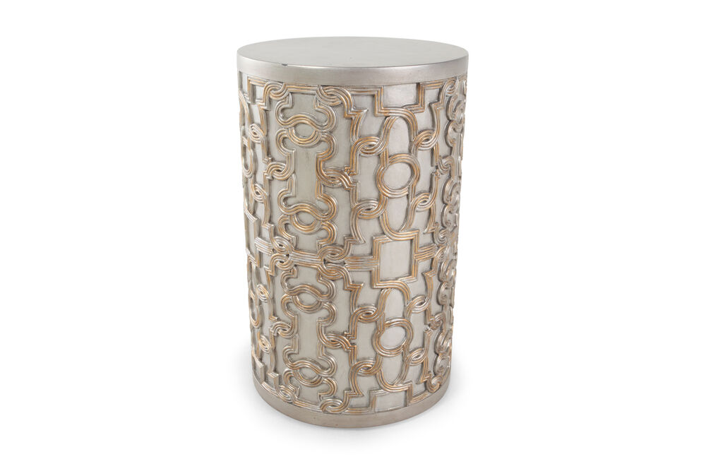Transitional Drum End Table In Silver Mathis Brothers