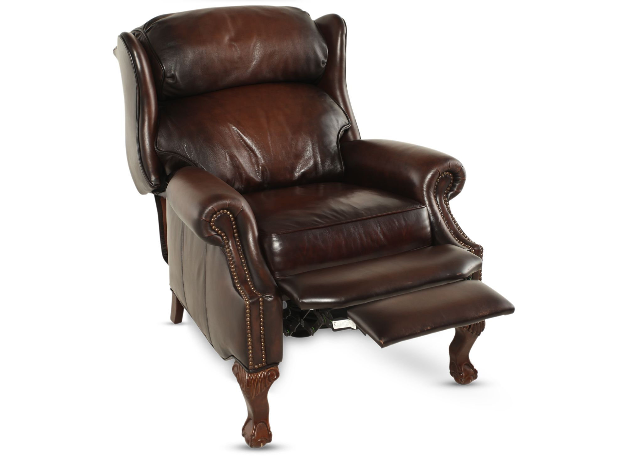 Leather Nailhead Accented 32.5u0026quot; Wingback Reclineru0026nbsp ...