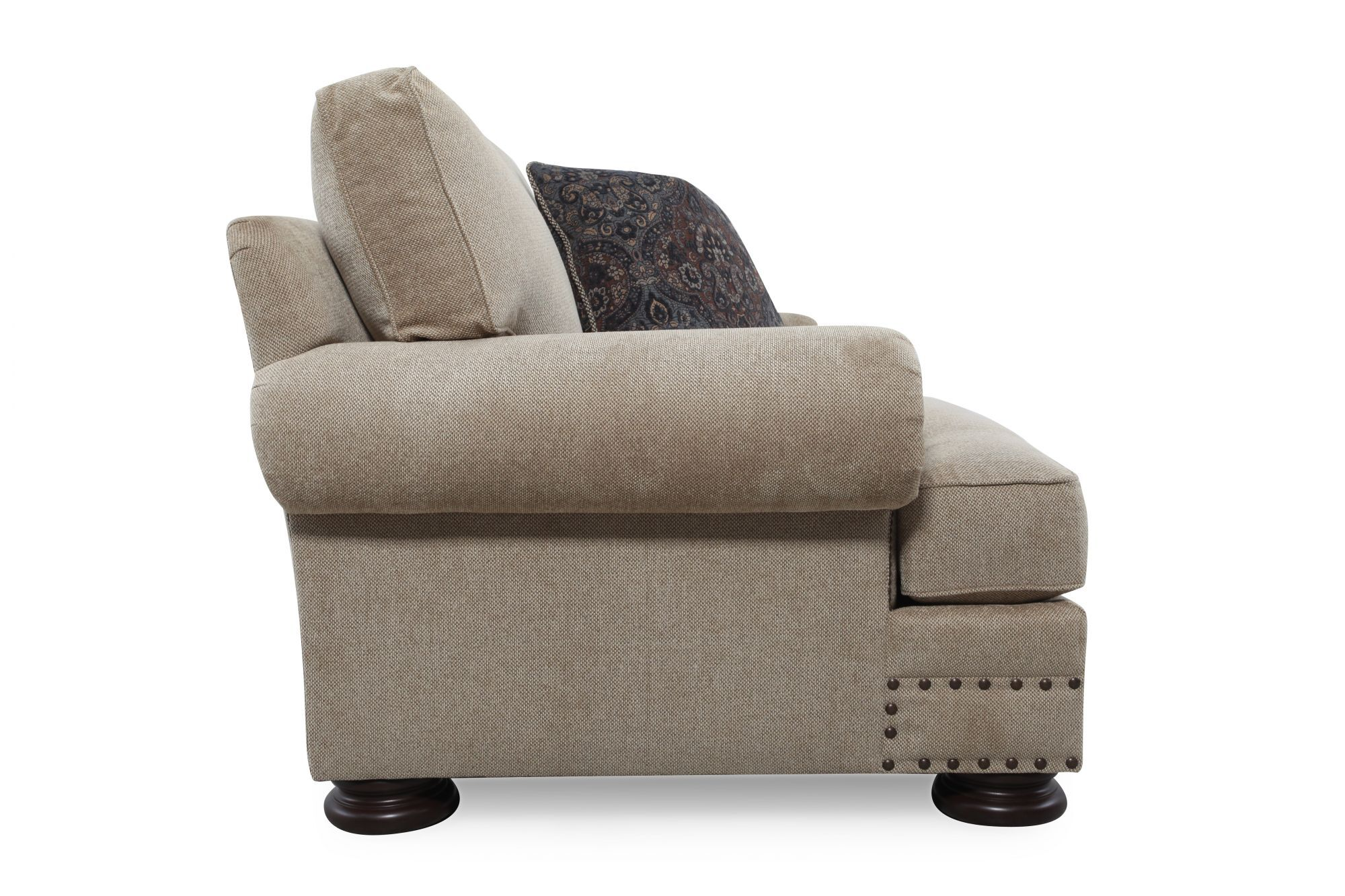Nailhead Accented European Classic Chair In Beige