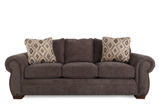 """Nailhead-Accented 90"""" Sofa in Russet Brown"""