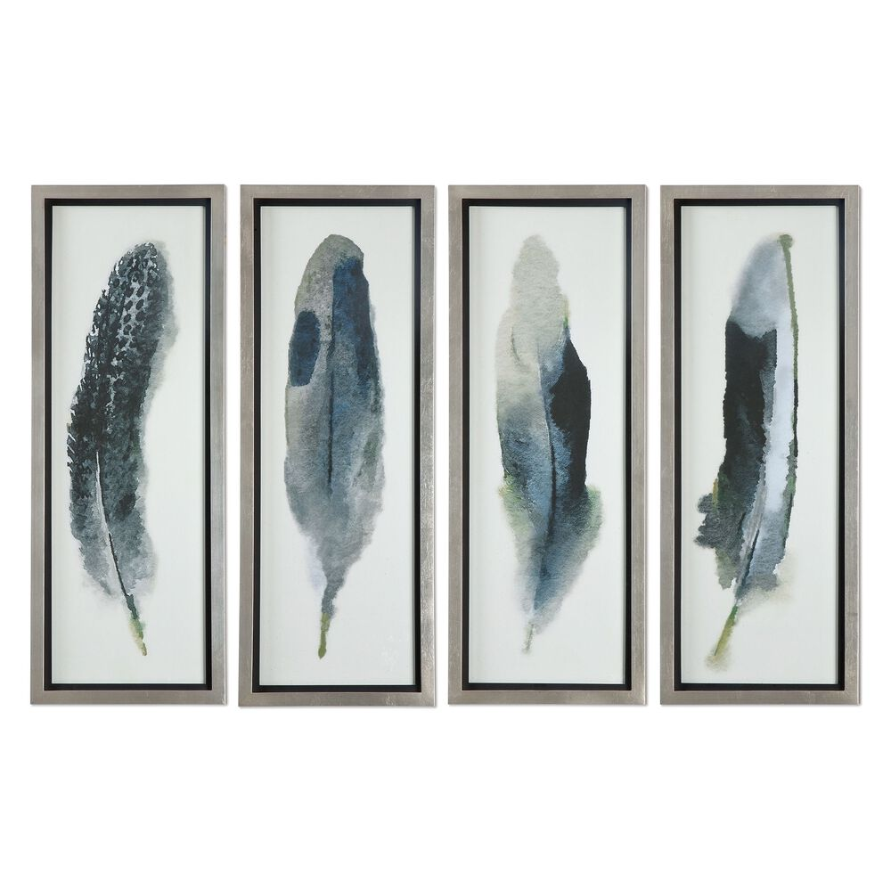 Four-Piece Feathers Printed Framed Wall Art Set