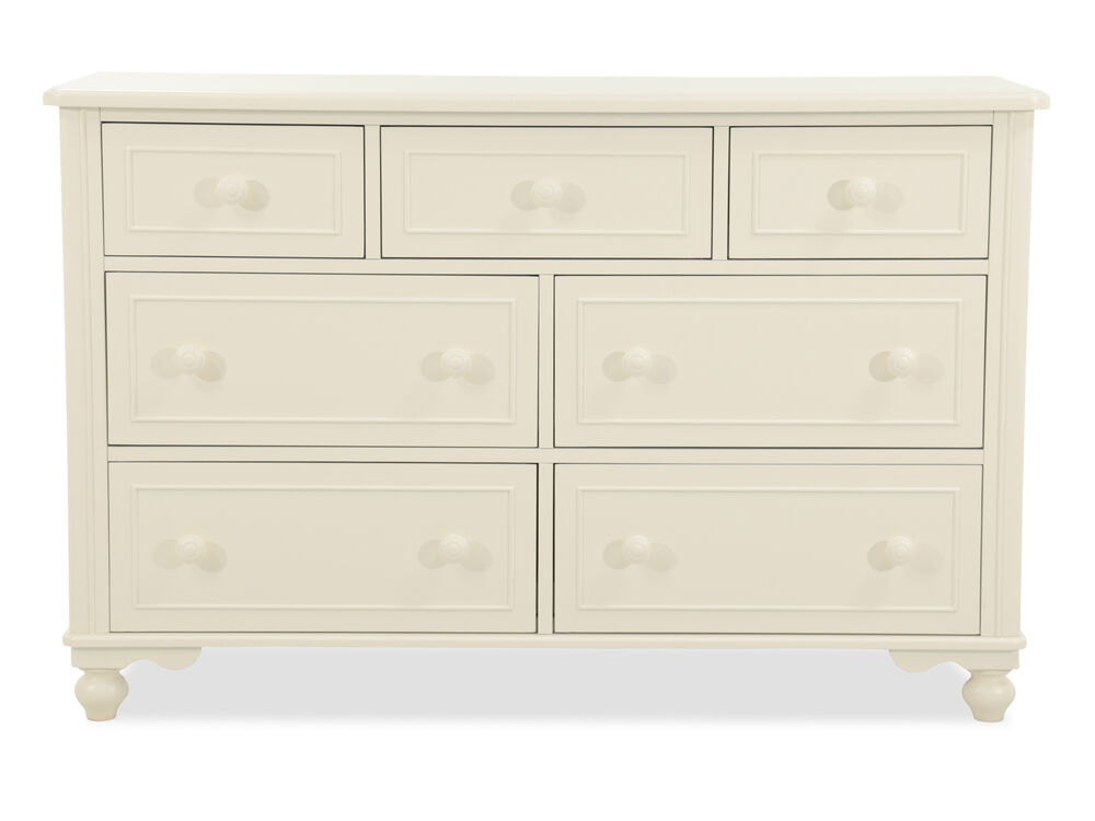 Seven-Drawer Transitional Youth Dresser in Cream