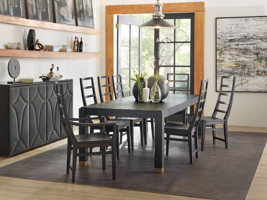 """Curata Rectangle Dining Table W/2-20"""" Leaves in Dark Wood"""