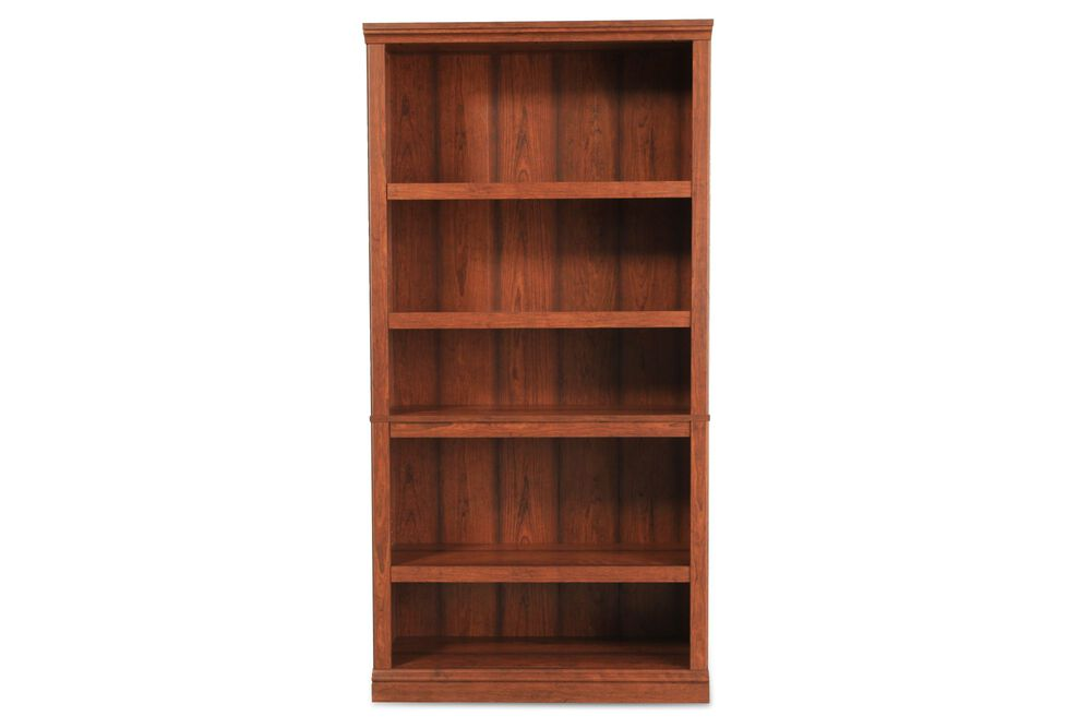 Traditional Adjustable Shelf Open Bookcase in Medium Cherry