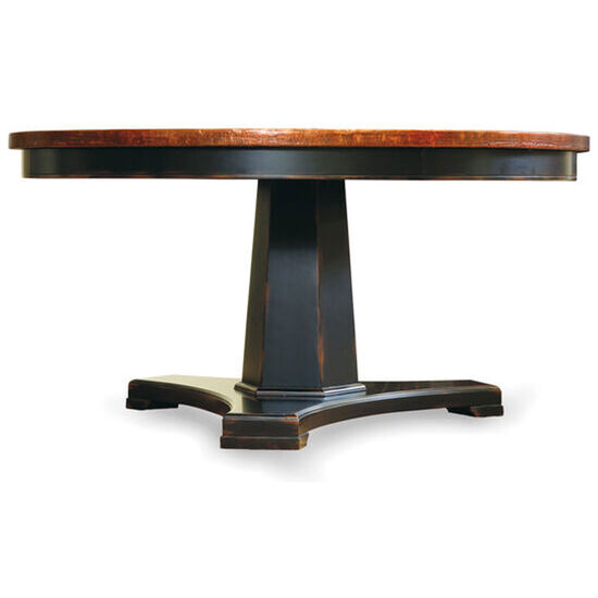 Sanctuary 48 in Round Pedestal Dining Table - Ebony & Copper in Black