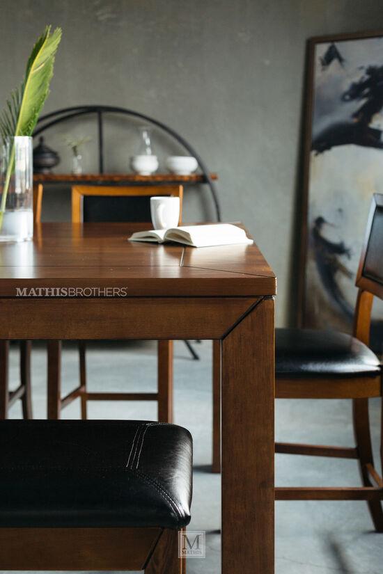 Six-Piece Casual 60'' Pub Dining Set in Medium Brown