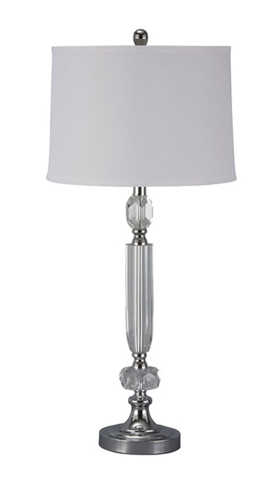 Traditional Drum Shade Table Lamp in Chrome
