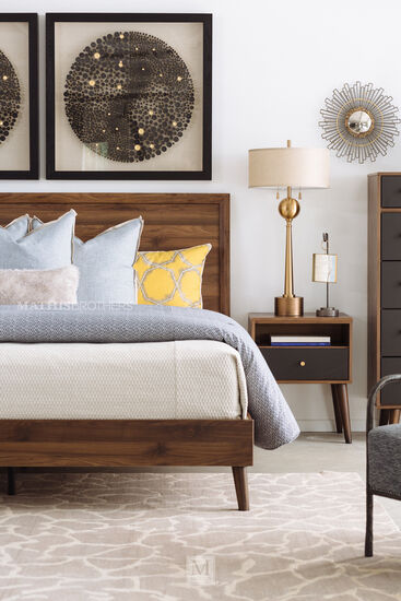 Mid-Century Modern Panel Bed in Brown