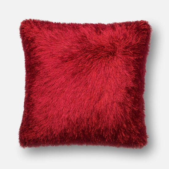 """Contemporary 22""""x22"""" Cover w/Down Pillow in Red"""