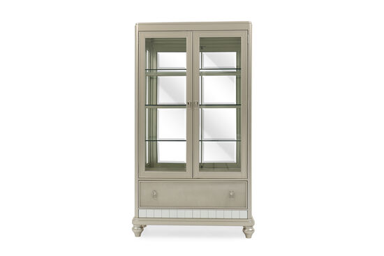 Transitional Diva Rectangular China Cabinet in Platinum