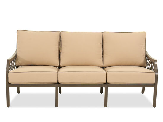 Contemporary All-Weather Resistant Patio Sofa in Brown