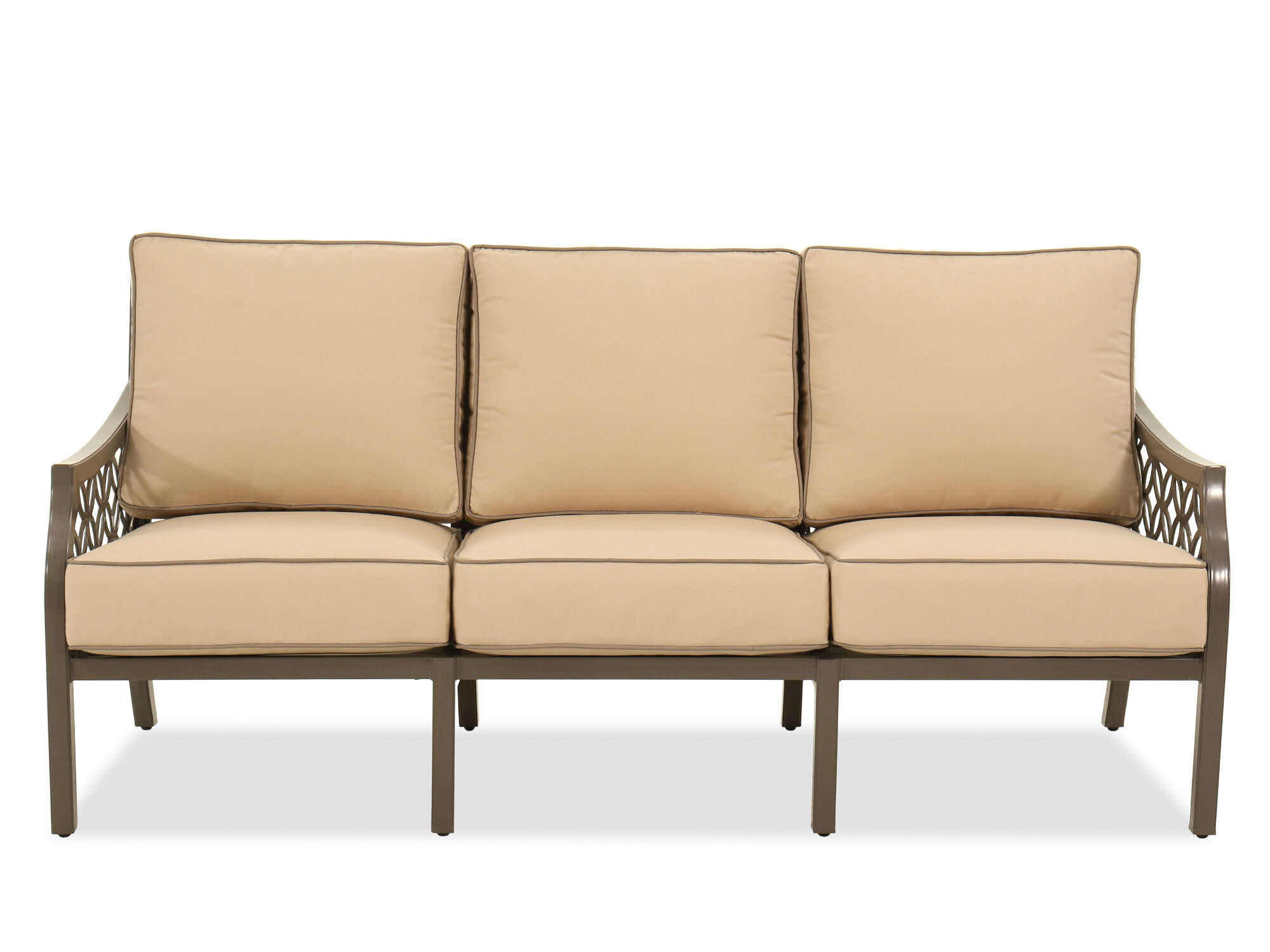 Contemporary All Weather Resistant Patio Sofa In Brown ...