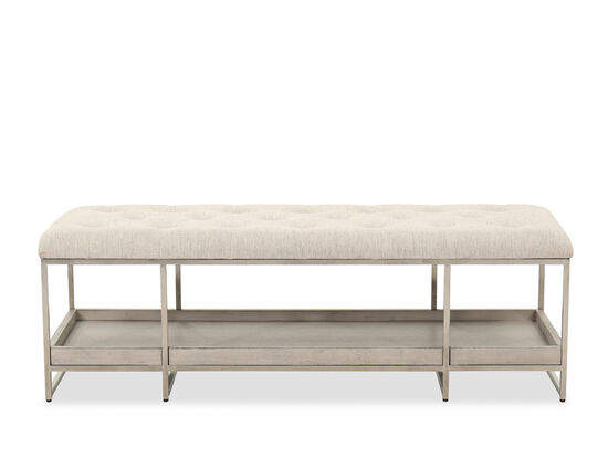 Contemporary Upholstered Bed Bench in Gray Oak