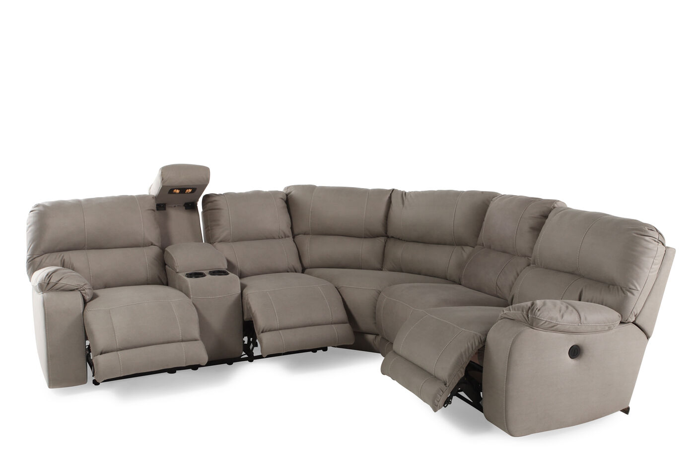 Three piece microfiber 103quot sectional in putty gray for Sectional sofa 103