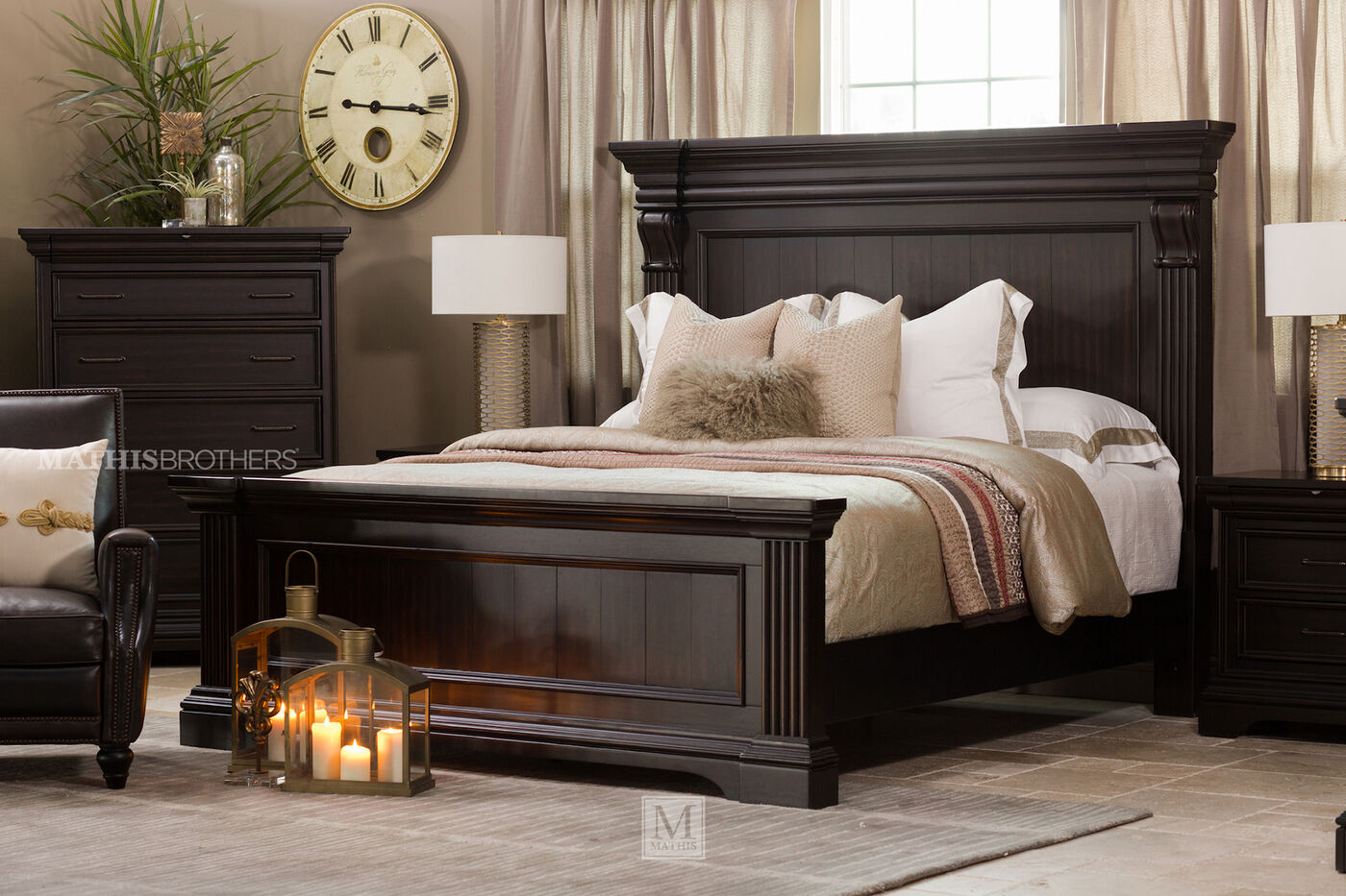 70 Traditional Distressed Panel Bed In Black Mathis Brothers Furniture