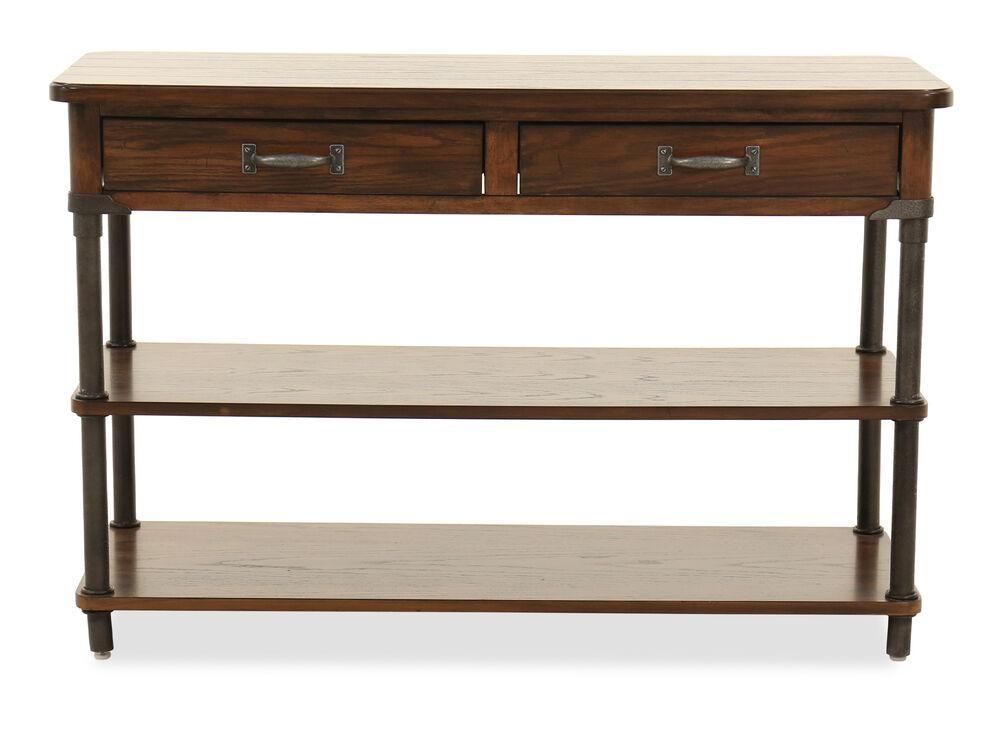 Two-Open Shelf Traditional Sofa Table in Oak