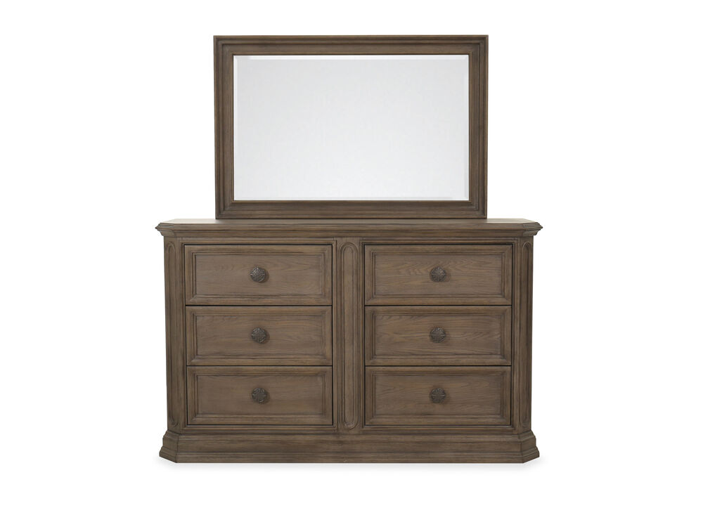 """42"""" Traditional Six-Drawer Dresser and Mirror in Cobblestone"""