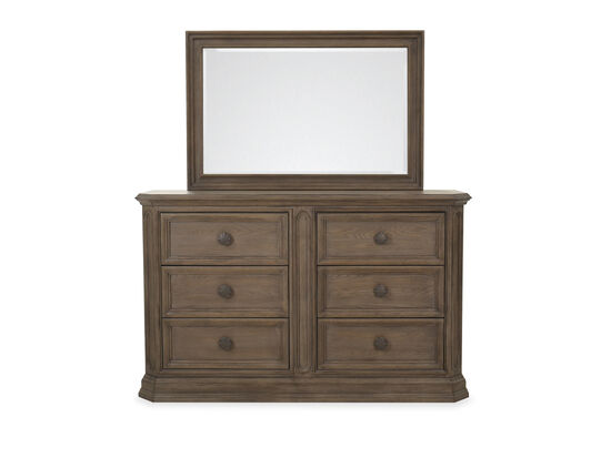 "42"" Traditional Six-Drawer Dresser and Mirror in Cobblestone"