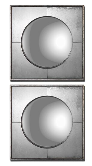 16'' Two-Piece Square Frame Round Accent Mirror Set in Champagne Silver Leaf