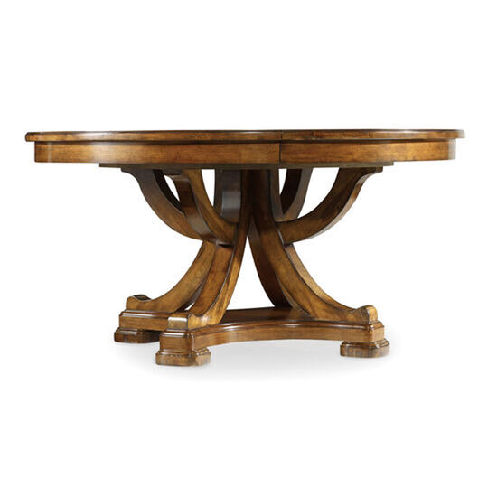 Tynecastle Round Pedestal Dining Table With One 18'' Leaf in Medium Wood