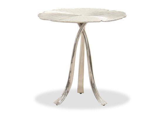Contemporary End Table in Satin Nickel