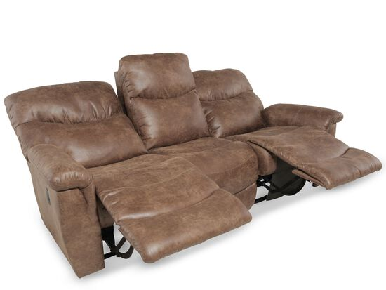 "Traditional 87"" Reclining Sofa in Brown"