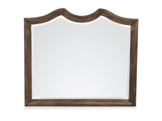 "42"" Traditional Beveled Rectangular Mirror in Brown"