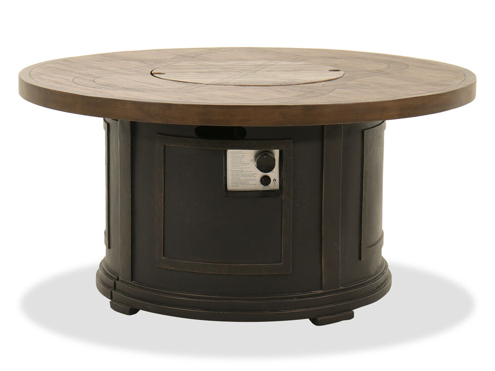 Round Aluminum Fire Pit Table in Dark Charcoal
