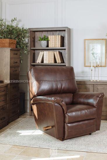"40"" Leather Rocker Recliner in Chocolate"