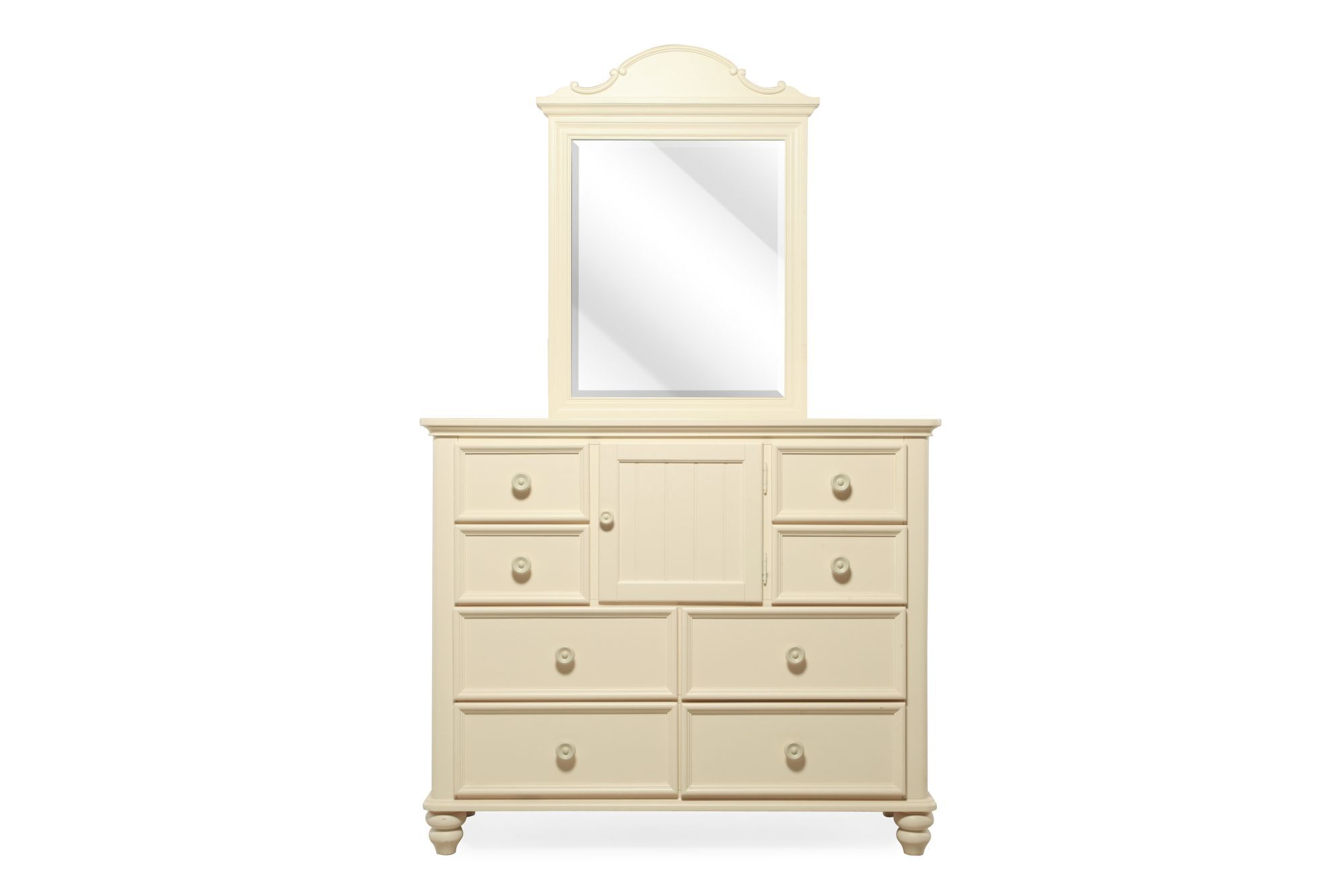 Eight Drawer Traditional Youth Dresser And Mirror In Cream